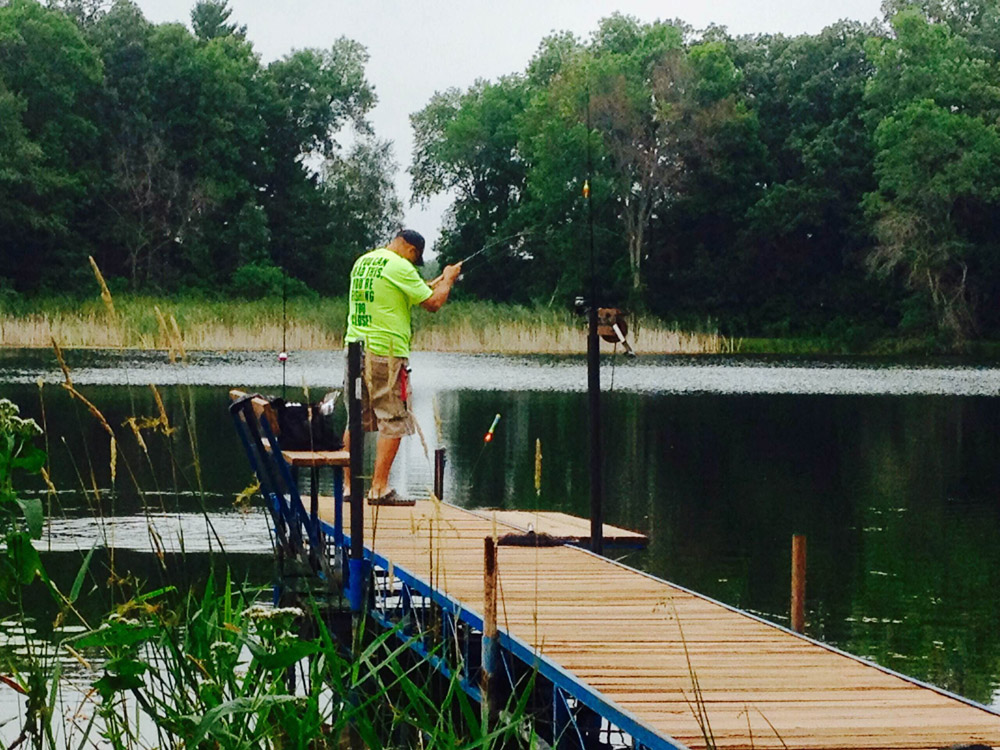 Fishing off the dock at LadySlipper Springs