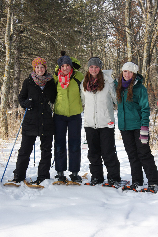 Snowshoeing with friends at the LadySlipper Inn B&B